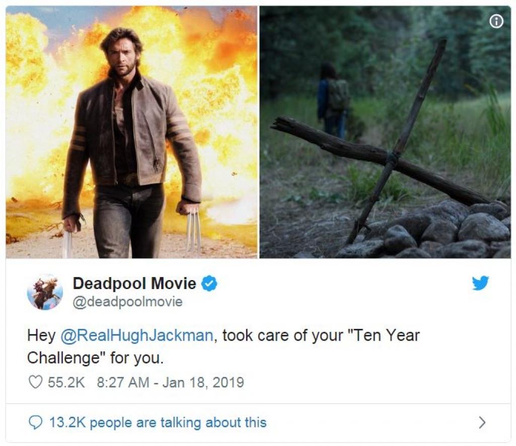 trang twitter cua deadpool treu choc hugh jackman voi trao luu 10yearchallenge