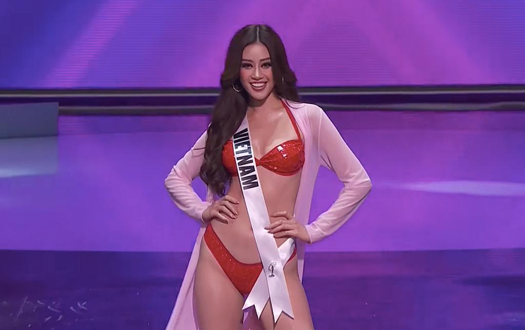 Khánh Vân sải bước đầy tự tin, 'chặt chém' các đối thủ nặng ký trong đêm bán kết 'Miss Universe'
