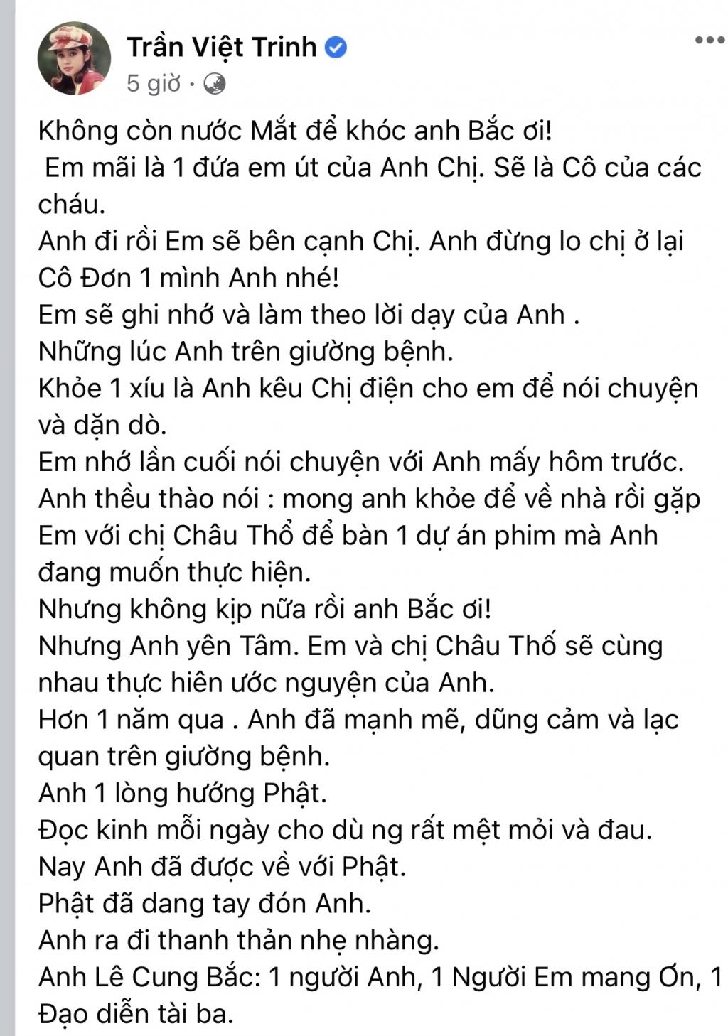 'Người đẹp Tây Đô' Việt Trinh tiếc thương sự ra đi của NSƯT Lê Cung Bắc: 'Không còn nước mắt để khóc anh ơi'
