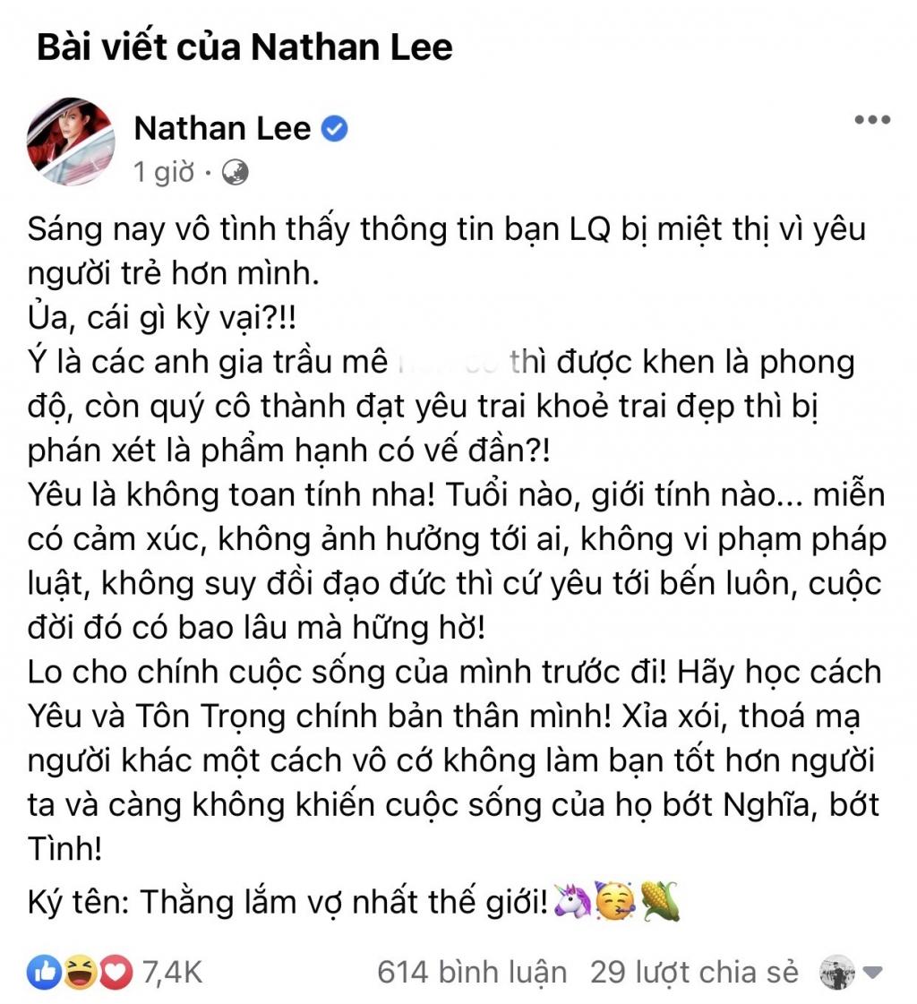 Nathan Lee bất ngờ bênh vực Lệ Quyên 'cực gắt': 'Thóa mạ người khác vô cớ không làm bạn tốt hơn!'