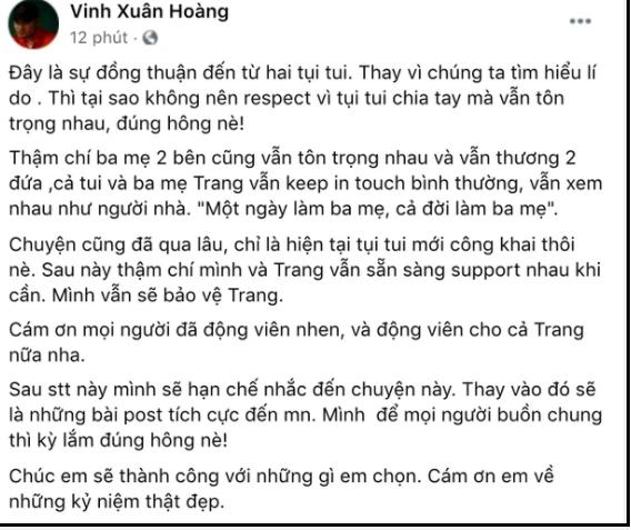 Lương Minh Trang đăng trạng thái lạ khiến fan lo lắng sau ly hôn