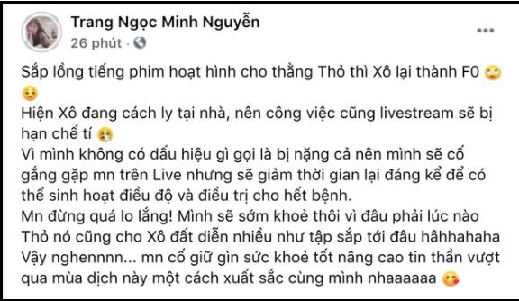 Lương Minh Trang xác nhận bị nhiễm Covid-19