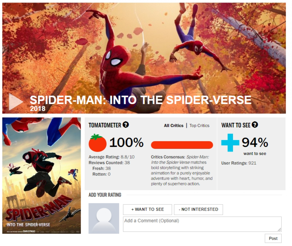 spider man into the spider verse nhan ve so diem tuyet doi tren rotten tomatoes