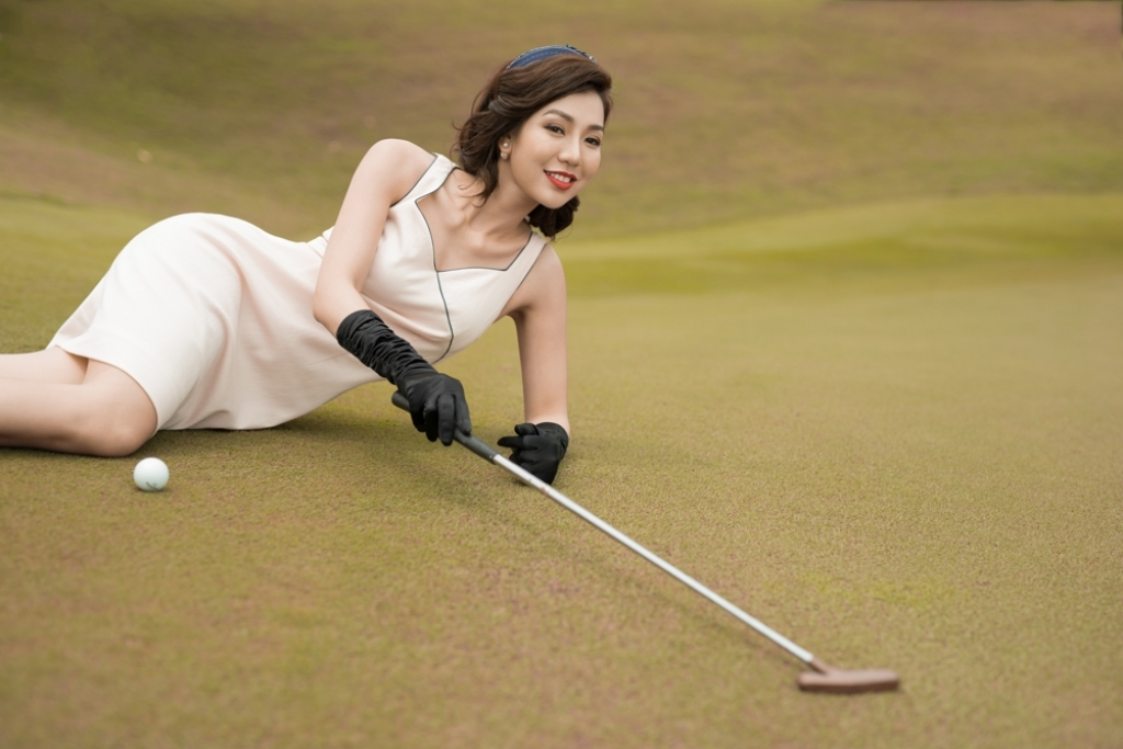a hoang golf queen nguyen hai anh hoa thanh quy co vintage tren san golf