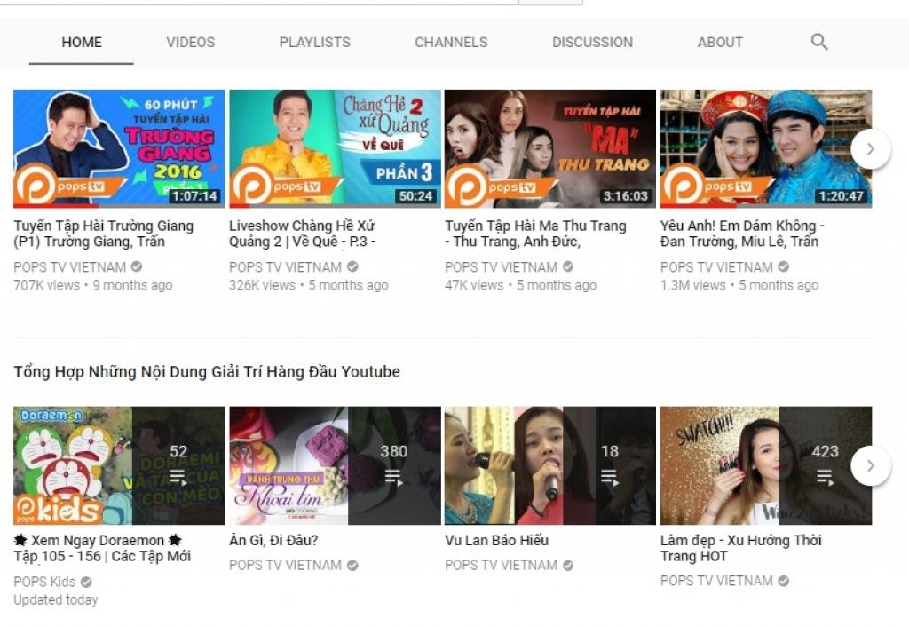 pops tv kenh giai tri truc tuyen vua dat nut vang youtube