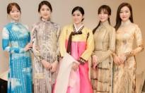 hoa hau huynh tien dien hanbok tu tin giao luu cung miss korea tren san khau
