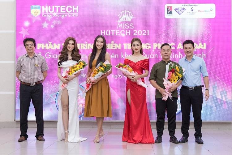 Á hậu Ngọc Thảo, Hoa hậu Thanh Khoa cùng NTK Việt Hùng ngồi 'ghế nóng' phần thi Áo dài của 'Miss Hutech 2021'