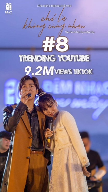 Cơn sốt 'Chỉ là không cùng nhau' của cặp đôi Tăng Phúc - Trương Thảo Nhi thăng hạng ồ ạt trên top Trending