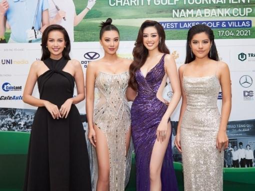 Sánh đôi cùng siêu mẫu Vĩnh Thuỵ, Hoa hậu Khánh Vân hút mắt với đầm xẻ bạo