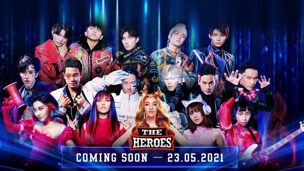 Dàn ca sĩ đình đám Vpop biến hình thành các chiến binh trong poster chính thức 'The Heroes 2021 - Thần tượng đối thần tượng 2021'