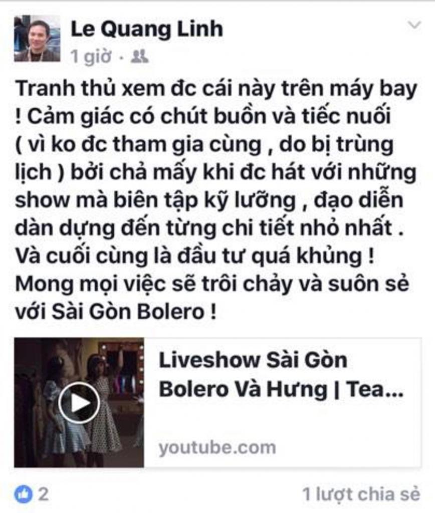 sao viet hao huc cho doi liveshow sai gon bolero hung