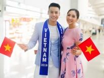 Hoa hậu Đặng Thu Thảo tiễn Cao Xuân Tài đi thi 'Man of The World 2018'