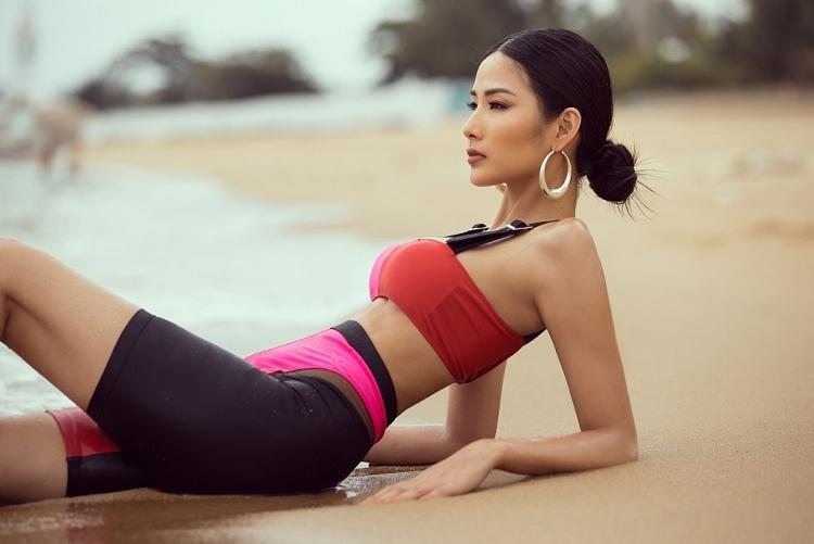 a hau hoang thuy khoe voc dang dep chuan bi cho miss universe 2019