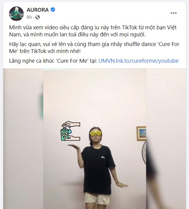 Aurora bất ngờ chia sẻ video của Tiktoker Việt Nam Chi Xê trên trang cá nhân chính thức
