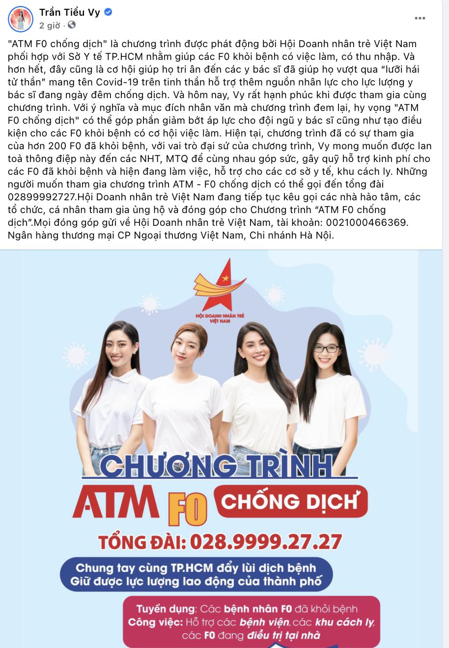 Đỗ Mỹ Linh, Trần Tiểu Vy, Lương Thùy Linh và Đỗ Thị Hà làm đại sứ 'ATM F0 chống dịch'
