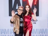 Hoa hậu Hải Dương diện váy đỏ rực chúc mừng NTK Chung Thanh Phong