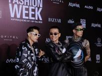 Rapper Wowy, Suboi và Karik 'tung hoành' thảm đỏ 'Aquafina Vietnam International Fashion Week 2020'