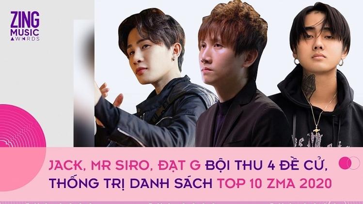Jack, Mr Siro, Đạt G đứng đầu đề cử top 10 Zing Music Awards 2020